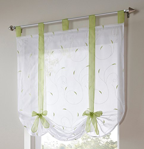 LivebyCare 1pcs Floral Embroidered Tie-Up Roman Shades Tap Top Sheer Balcony Window Balloon Curtain Voile Drape Bowknot Drapery Valance Panels for Bedroom Decor Decorative