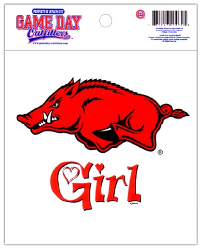 Game Day Outfitters NCAA Arkansas Razorbacks Small Window Decal/Stickers AR Girl