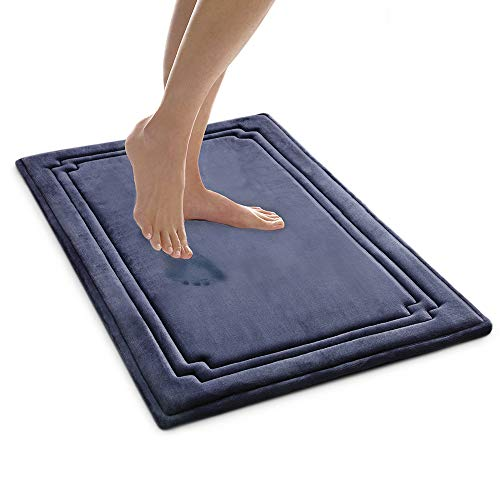 MICRODRY SoftLux Charcoal Infused Memory Foam Framed Bath Mat with GripTex Skid Resistant Base - 21x34 (Blue)