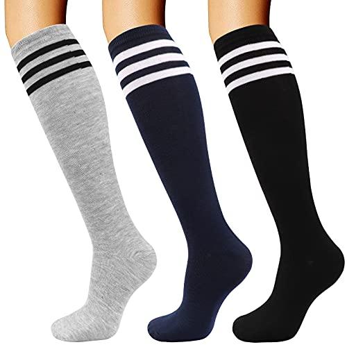DRESHOW 3 Pairs Knee High Socks for Women Girls Cotton Stripe Black Stockings Leg Warmer All Season Gift