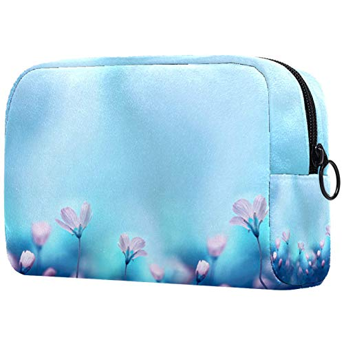 Travel Makeup Case Durable Professional Cosmetic Storage Makeup Bag Organizer Makeup Boxes for Girls Women light blue flower 7.3x3x5.1in
