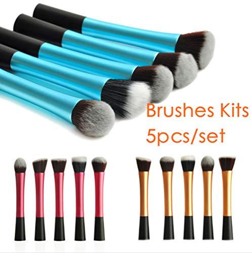 Makeup Brushes 5 Petites Brosses De Maquillage De Taille, Ensemble De Maquillage en Aluminium De Tête De Flamme De Tube en Aluminium, Outils De Beauté Produits De Beauté,Blue