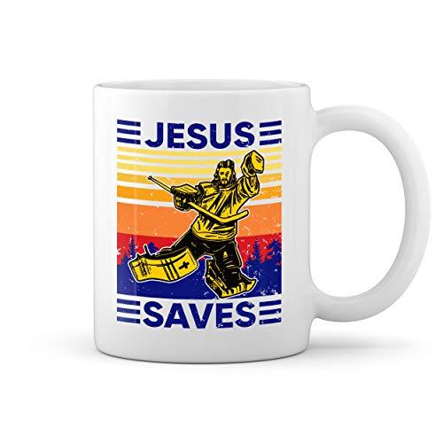 Vintage Retro Jesus Saves Hockey Lover Blanco taza