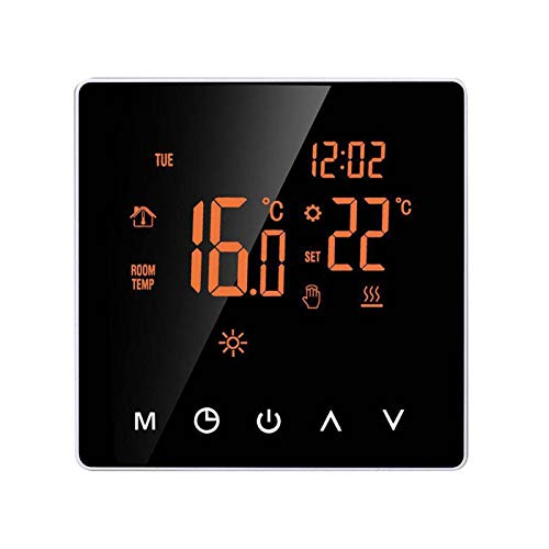 Amusingtao Smart Thermostat Programmierbarer flammhemmender PC-Touchscreen Digitale elektrische Heizung LCD-Display des...