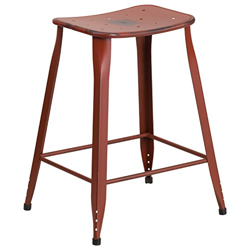 Red Antique Look Saddle Seat 1 or 4 Pack Metal Bar Stools