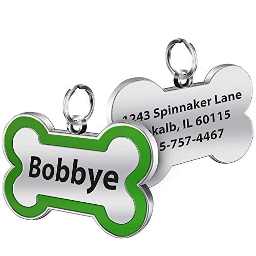 SpecialYou Custom Dog Tags Personalized Name Engraved Both Sides Bone Shape Pink Red Black Green Purple Blue Gift for Pets, 6 Colors (Green)