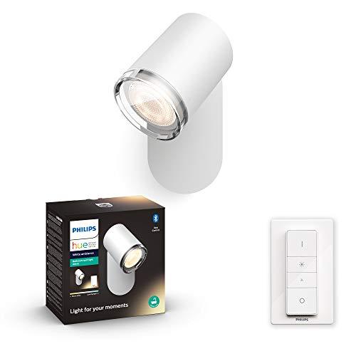 Philips Hue Adore - Foco Inteligente LED blanco para baño con Bluetooth, Luz Blanca de Cálida a Fría, Compatible con Alexa y Google Home
