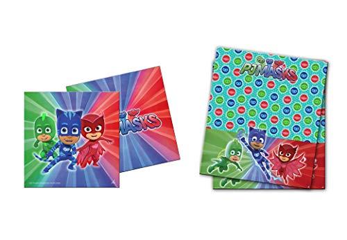 0541, Pj maskers plastic feest tafelkleed pakket 120x180 cm en 20 Pj maskers papieren servetten pack