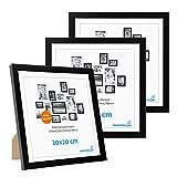 Photolini Juego de 3 Marcos 20x20 cm Modernos, Negros de MDF con Vidrio acrílico, Incluyendo Accesorios/Collage de Fotos/galería de imágenes