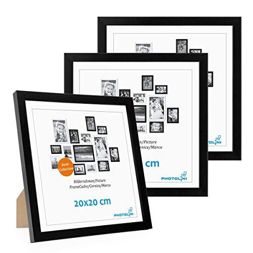 PHOTOLINI 3er Set Bilderrahmen 20x20 cm Modern Schwarz aus MDF mit Acrylglas/Portraitrahmen/Wechselrahmen