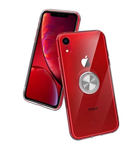 SORAKA Funda Transparente para iPhone XR con Anillo Giratorio de 360 Grados y Placa de Metal Compatible con Soporte Móvil Coche Magnético Ultradelgado Carcasa de TPU Suave