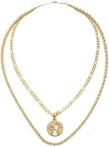JSYHXYK Collar Collar Collar Bohemio Collar De Cadena De Doble Capa Color Dorado Mapa del Mundo Hueco Etiqueta Colgante Cadena Gargantilla para Mujer Regalo De Joyería