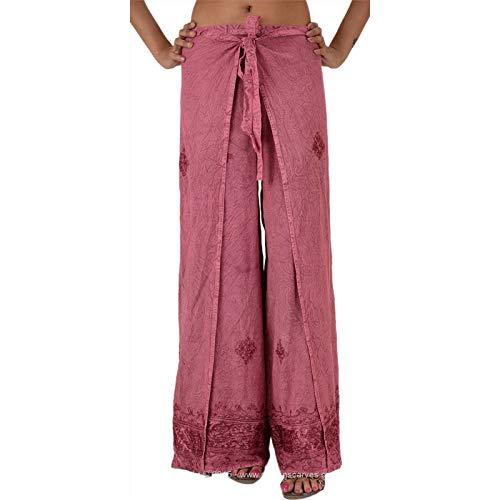 Faldas y bufandas bordadas de rayón para mujer, pantalones de palazzo (gris) Rosa rosa Talla única