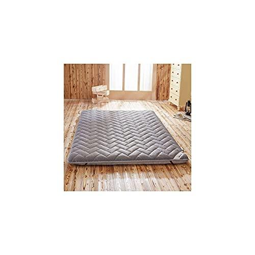 Japon Tatami Matelas Futon Pliable, Pliant Matelas de Plancher Respirant Confortable Matelas De Sol Topper Tapis De Sol Guest Tatami Camping Voyage-Gris clair-90 * 190cm(35 * 75in)