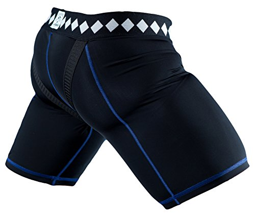 Diamond MMA Compression Jock Shorts and Cup System, Black, Large