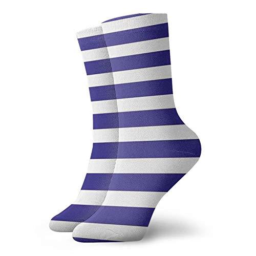 Calcetines suaves de longitud media de pantorrilla, estilo náutico, azul marino y blanco, diseño geométrico, para mujeres y hombres, ideales para correr