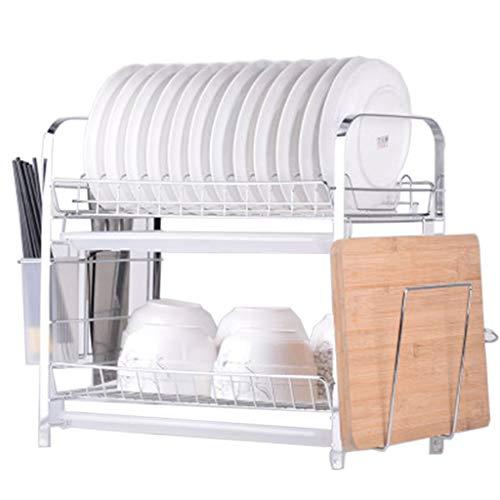 Küchenregale Rostfreier Stahl 2 Schicht Küchenregal Dish Rack Abtropfgestell trocknen das Geschirr-Lagerregal