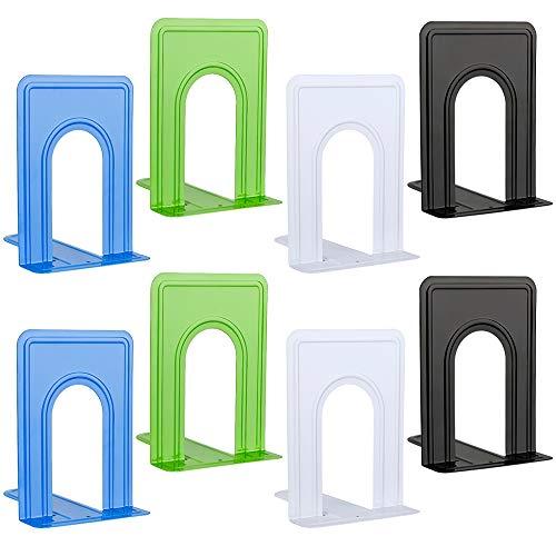 Jooheli Buchstützen aus Metall, 4 Paar, Schwarz, Weiß, Grün, Blau