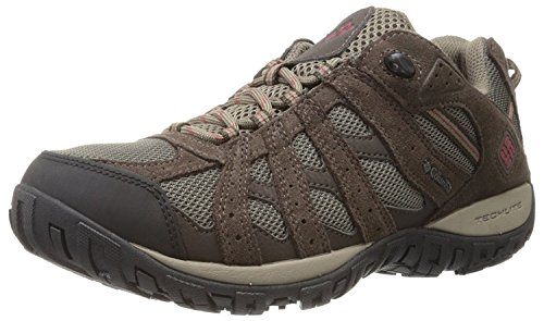 Columbia Redmond Waterproof, Zapatillas de Senderismo Hombre, Marrón (Mud/Garnet Red), 46 EU