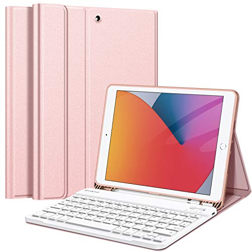 Fintie Tastatur Hülle für iPad 10.2 Zoll (8. und 7. Generation - 2020/2019), Soft TPU Rückseite Gehäuse Schutzhülle mit Pencil Halter, magnetisch Abnehmbarer Tastatur mit QWERTZ Layout, Roségold