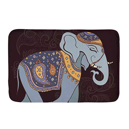 RQJOPE Felpudo Antideslizante Moderno Vintage Mandala Hippie Elefante diseño decoración del hogar Alfombra de Entrada para Sala de Estar baño Cocina Navidad Decoración hogareña-50x80cm