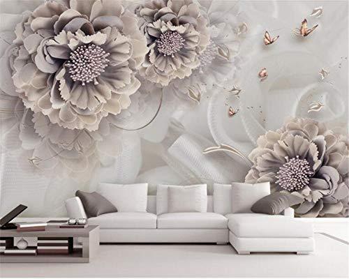 HDDNZH muurschildering op maat, 3D grote muurschildering behang modern pioenroos sieraden bloem TV sofa 'S achtergrond muur kinderen woonkamer slaapkamer huis decoratie 260cm(H)×420cm(W)
