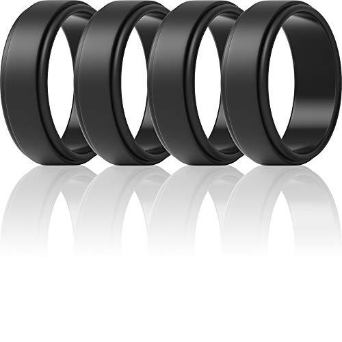 ThunderFit Silicone Wedding Ring for Men (4 Black Rings, 13.5-14 (23mm))