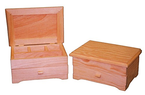 greca Caja de Madera. Interior con divisiones, Ideal para joyero. Madera en Crudo para Decorar. Medidas (Ancho/Fondo/Alto): 25 * 18 * 12 cm.