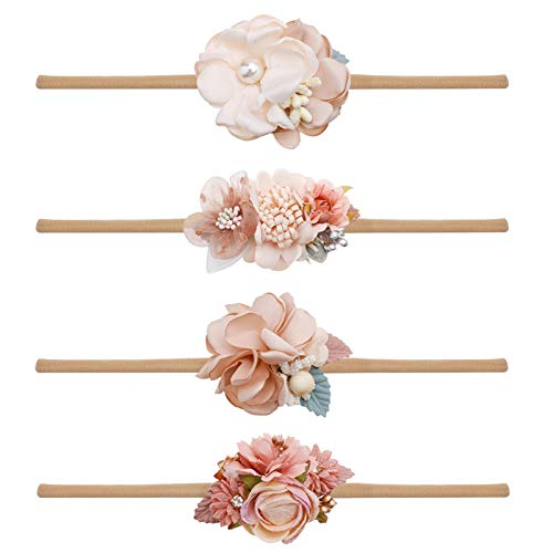 Baby Girl Flower Headbands Set-Elastic Hair Band Crown Flower Wraps for Newborn Infant Toddler 3Pcs by mligril (4-Champagne, One Size)