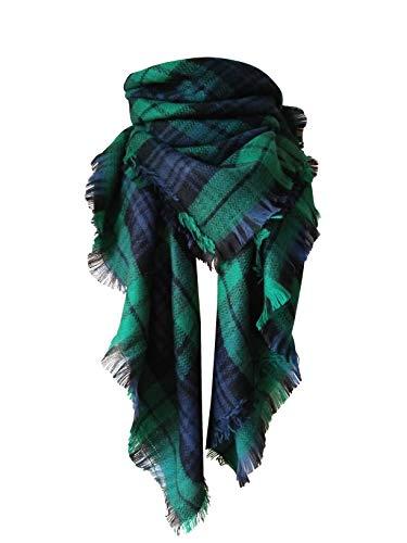 MOTINE Tartan Blanket Scarf Stylish Winter Warm Pashmina Wrap Shawl for Women (Green)