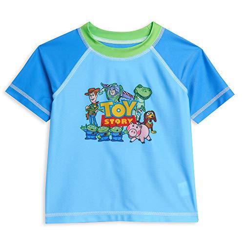 Disney Pixar Toy Story Toddler Boys Short Sleeve Rash Guard Swim Top Blue 2T