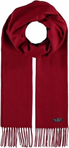 FRAAS Cashmink® Schal für Damen & Herren - Weicher als Kaschmir - 35 x 200 cm - Made in Germany - Perfekt für den Winter - Schal mit Fransen in Uni-Farben True Red