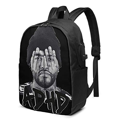 Joyner Lucas Student Backpack, Sports Mountaineering Leisure Backpack, USB Port, Earphone Cable Interface Backpack