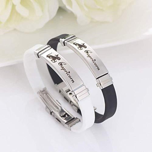 Stijlvolle eenvoud armband, vintage siliconen roestvrij stalen armband, 12-sterrenbeelden armbanden voor mannen vrouwen fijne vakmanschap/Taurus/zwart, MN white Capricorn