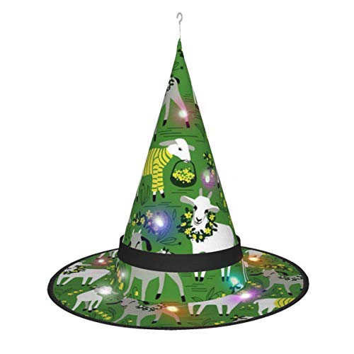 Witch Hat Lamp,Goat Halloween Headwear Witch Hat Lights Decoration For Kids And Adult
