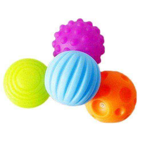 CAOLATOR 4 Pcs Masaje Bola Pelota de Juguete para Bebé Menor de 2 años,Sin ftalatos y BPA