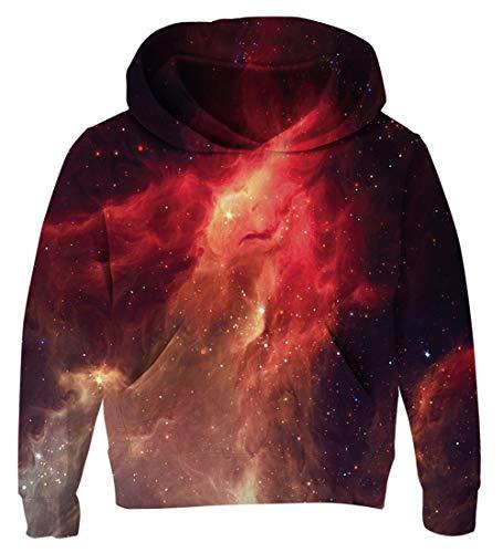 AIDEAONE Junge Teenager Hoodie Galaxy 3D Kapuzenpullover Pulli Rot Schwarz 6-7 Jahre
