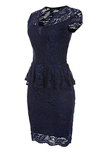 Laeticia Dreams Damen Kleid aus Spitze Kurzarm Knielang Schößchen S M L XL, Farbe:Marineblau;Größe:38
