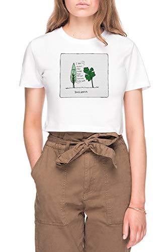 Salie Advies Dames Bijsnijden T-shirt Tee Wit Women's Crop T-shirt Tee White