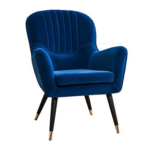 Sillón Nórdico Escandinavo, butaca Comedor salón Dormitorio, sillón Acolchado con Reposabrazos,Dark Blue