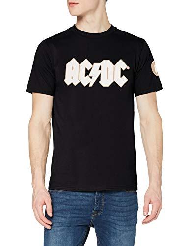 AC/DC Logo & Angus with Applique Motifs Camiseta, Azul (Blue Blue), Medium para Hombre