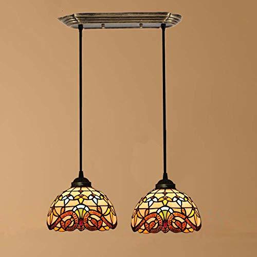 Lampadario in Stile Tiffany, Lampada A Sospensione Barocca in Vetro Colorato A 3 Teste Paralume Da 8 Pollici, Lampada A Sospensione Per Sala Da Pranzo Bar Caffetteria Ristorante,B
