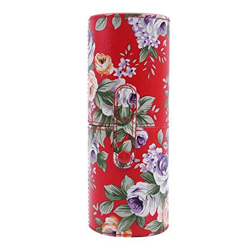 WEIHEEE Fleur Impression Outil Seau De Stockage, Portable De Bureau Cosmétiques Organisateur pour Maquillage Brosse Crayon,Rouge