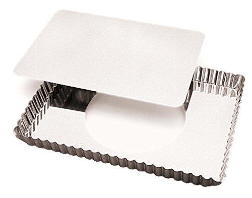 Gobel 125810 Moule à Tarte Cannelé Rectangulaire Fond Mobile Fer Blanc 29*20,5 cm