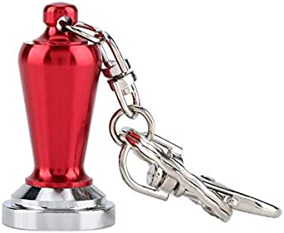Premium Portable Couple Espresso Tamper Barista Accessories Coffee Key Chain Mini Flat Base Coffee Tamper Beautiful Coffee Keyring Cafe (color: red)