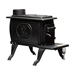 """54, 000 BTUs heats up to 900 Sq. Ft. 2-Piece safety handle remains cool while the stove is burning while heavy duty cast iron construction provides classic style with modern technology Accepts logs up to 19"""" in length Integrated 6. 25 inch cooking su..."""