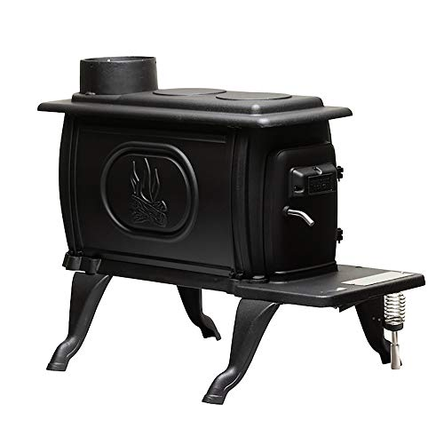 US Stove US1269E 900 Sq. Ft. Log Wood Cast Iron Stove, Black