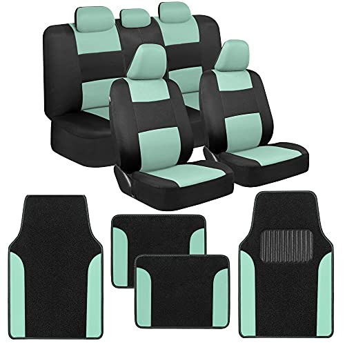 BDK PolyPro Mint Car Seat Covers Full Set with 4-Piece Car Floor Mats - Two-Tone Universal Fit Seat Covers for Cars with Carpet Floor Mats, Seat Protector Interior Accessories for Auto Truck SUV