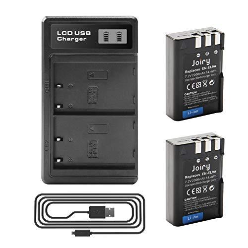 2 X EN-EL9 EN-EL9A Batteria di Ricambio e LCD Doppio caricatore Compatibile con Nikon D40 D40x D60 D3000 D5000 Cameras