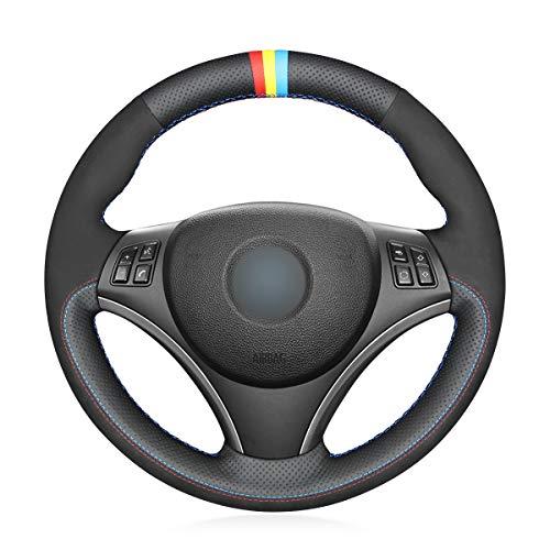 MEWANT - Funda para volante de coche de piel auténtica y ante para BMW Serie 1 E81 E82 E87 E88 2008-2012 3 Series E90 E91 E92 E93 2006-2011